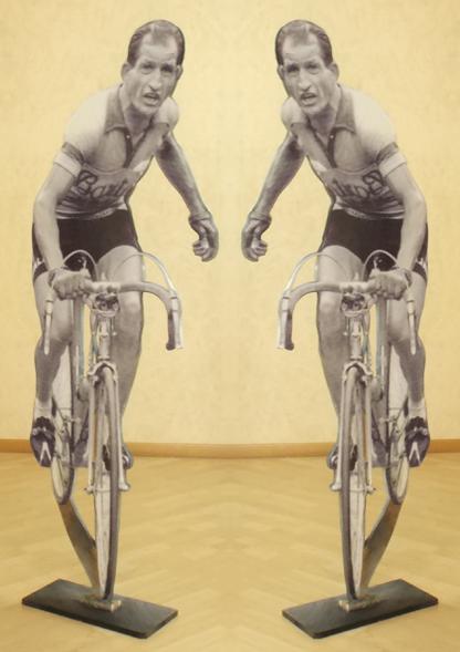 Quadro di Andrea Tirinnanzi Gino Bartali (Giro di Toscana del 1954) - digiscultura bifacciale tavola