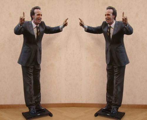Quadro di Andrea Tirinnanzi Roberto Benigni - digiscultura bifacciale carta su tavola