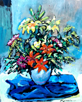 Quadro di Luigi Pignataro - Vaso di  fiori olio faesite