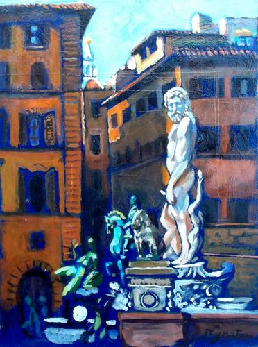 Quadro di Luigi Pignataro Firenze,Piazza Signoria - olio faesite