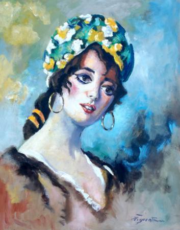 Quadro di Luigi Pignataro Ritratto di donna - olio faesite