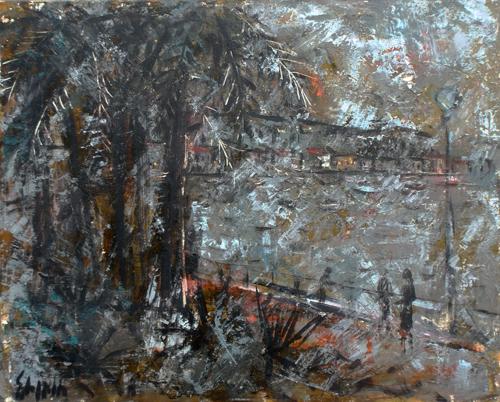 Art work by Emanuele Cappello Paesaggio - oil canvas cardboard