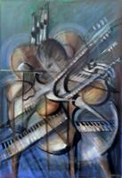 Quadro di Sereno Serena - Concerto di strumenti olio tela