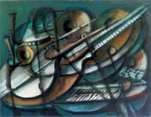 Quadro di Sereno Serena Strumenti musicali - olio tela