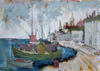 Work of Gianfranco Bosi - Marina con barche ormeggiate oil canvas