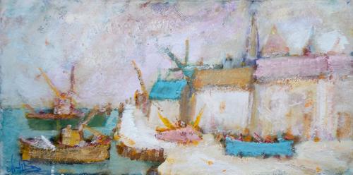 Quadro di Gianfranco Bosi Marina con case - mista tela