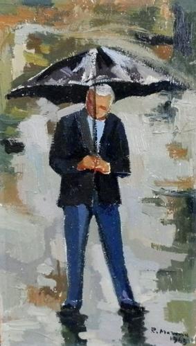Quadro di Rodolfo Marma Omino sotto la pioggia - olio tavola