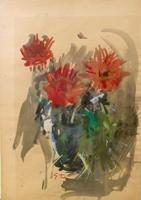 Quadro di Gino Tili Vaso di fiori - acquerello carta