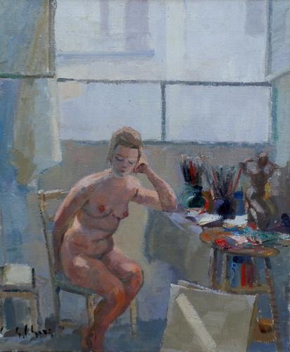 Quadro di Gino Paolo Gori Sotto la finestra - olio tela