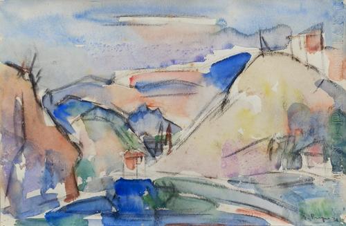 Quadro di Enzo Pregno Paesaggio - acquerello carta