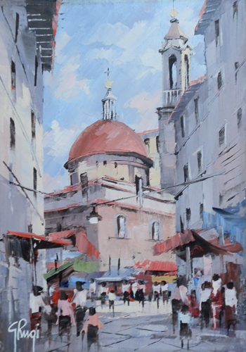 Art work by Giannetto Rugi Mercato di S.Lorenzo,Firenze - oil canvas
