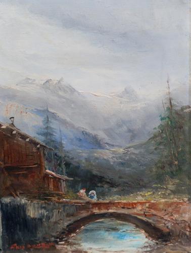 Art work by firma Illeggibile La casa vicino al ponte - oil canvas