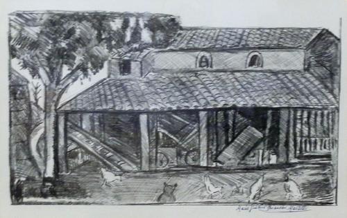 Quadro di Maria Grazia Bianchi Martelli Casa in campagna - litografia carta