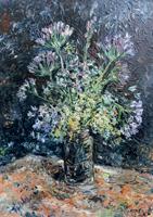 Work of firma Illeggibile - Vaso con fiori oil table
