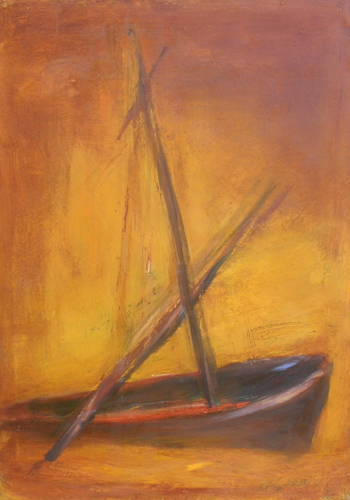 Art work by firma Illeggibile Paesaggio con barca - oil canvas