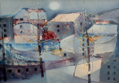 Quadro di Lido Bettarini Paesaggio con case - olio tela