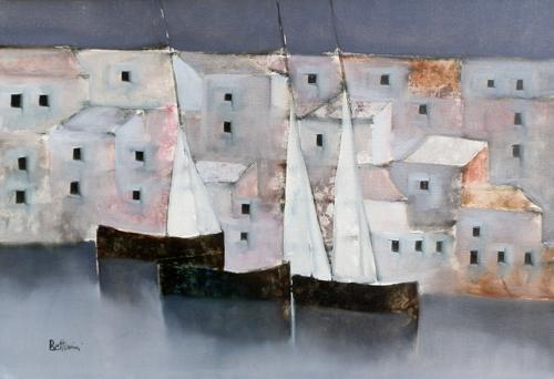 Quadro di Lido Bettarini Marina con barche, olio su tela 50 x 70 | FirenzeArt Galleria d'arte