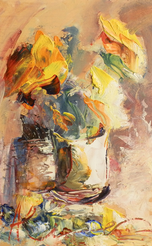 Art work by Paolo Abrans Vaso di  fiori - oil table