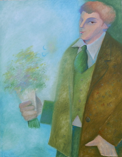 Quadro di Cesare Giardini Uomo con mazzo di fiori - olio tela