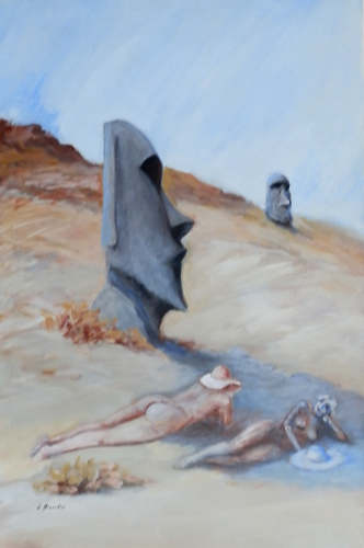 Art work by Umberto Bianchini Isola di Pasqua - oil canvas