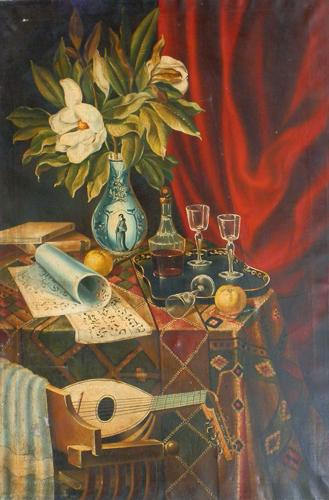 Quadro di firma Illeggibile Composizione antica - olio tela