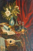 Quadro di firma Illeggibile - Composizione antica olio tela