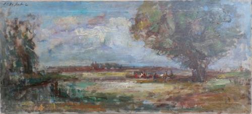 Quadro di Osman Lorenzo De Scolari Paesaggio - olio tela