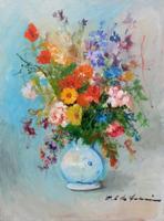 Quadro di Osman Lorenzo De Scolari - Vaso di  fiori olio tela