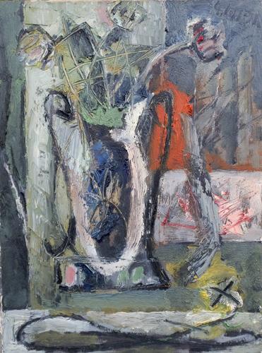 Quadro di Emanuele Cappello Composizione astratta con fiori, olio su tela 80 x 60 | FirenzeArt Galleria d'arte