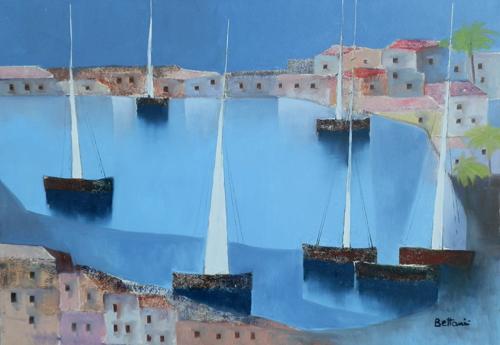 Quadro di Lido Bettarini Marina con vele - olio tela