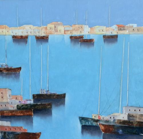 Art work by Lido Bettarini Marina con barche - oil canvas