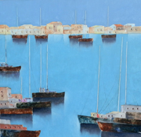 Work of Lido Bettarini - Marina con barche oil canvas