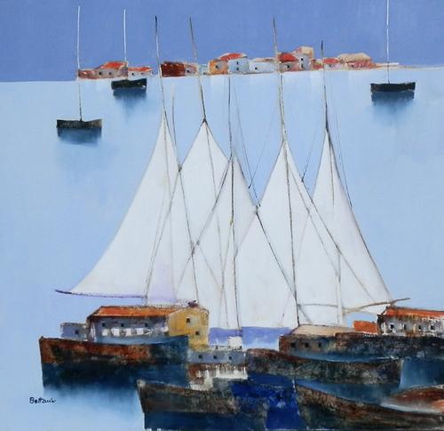 Quadro di Lido Bettarini Vele, olio su tela 100 x 100 | FirenzeArt Galleria d'arte