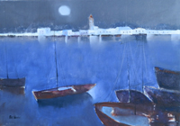 Work of Lido Bettarini - Marina oil canvas