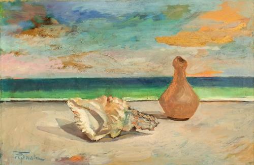 Art work by Luigi Pignataro Composizione sul mare - oil canvas