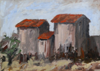Quadro di Roberto Ciabani  Paesaggio con case