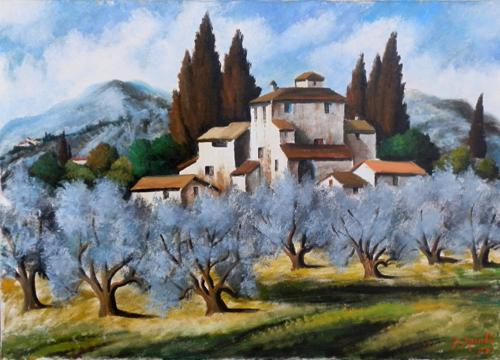 Quadro di Pancrazio Spinelli Paesaggio Toscano