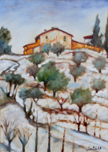 Art work by Gino Michelotti Neve in Toscana - oil canvas