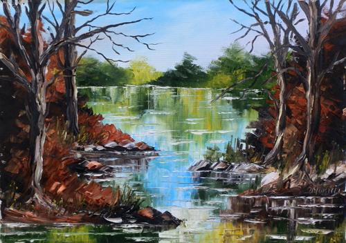 Quadro di A. Moricci Paesaggio - olio tela