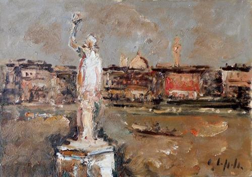 Quadro di Emanuele Cappello Paesaggio cittadino - olio tela