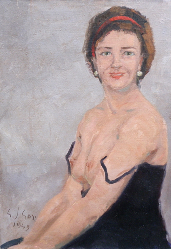 Quadro di Gino Paolo Gori Signora in sottabito - olio tela