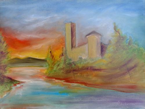 Art work by Paolo Vespignani Paesaggio - oil canvas