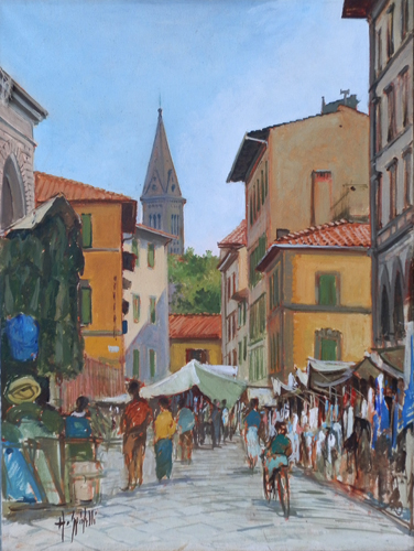 Art work by G. Spinelli Mercato - oil canvas