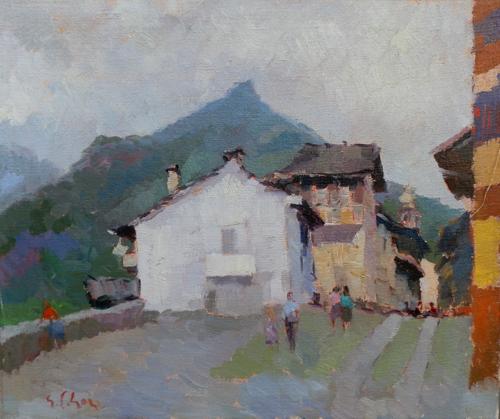 Quadro di Gino Paolo Gori Viedicavallo valle del Cervo - olio tela