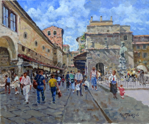 Quadro di Graziano Marsili Sul Ponte Vecchio - olio tela