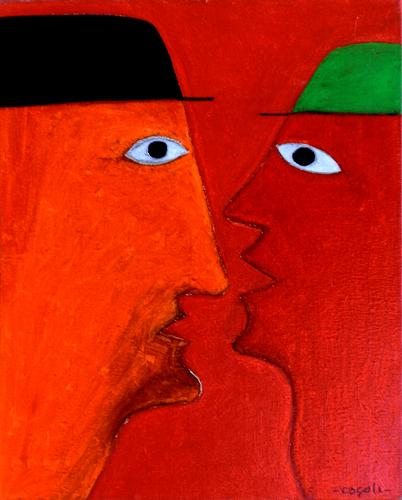 Art work by Livio Cogoli Incontro - oil canvas