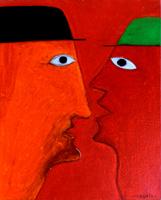 Work of Livio Cogoli - Incontro oil canvas