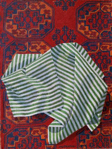 Quadro di Costante Costantini Panneggio su tappeto Afgan - olio tela