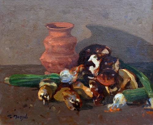 Quadro di Graziano Marsili Composizione con frutta - olio tela