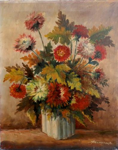 Quadro di  Salmoiraghi Vaso di  fiori - olio tela